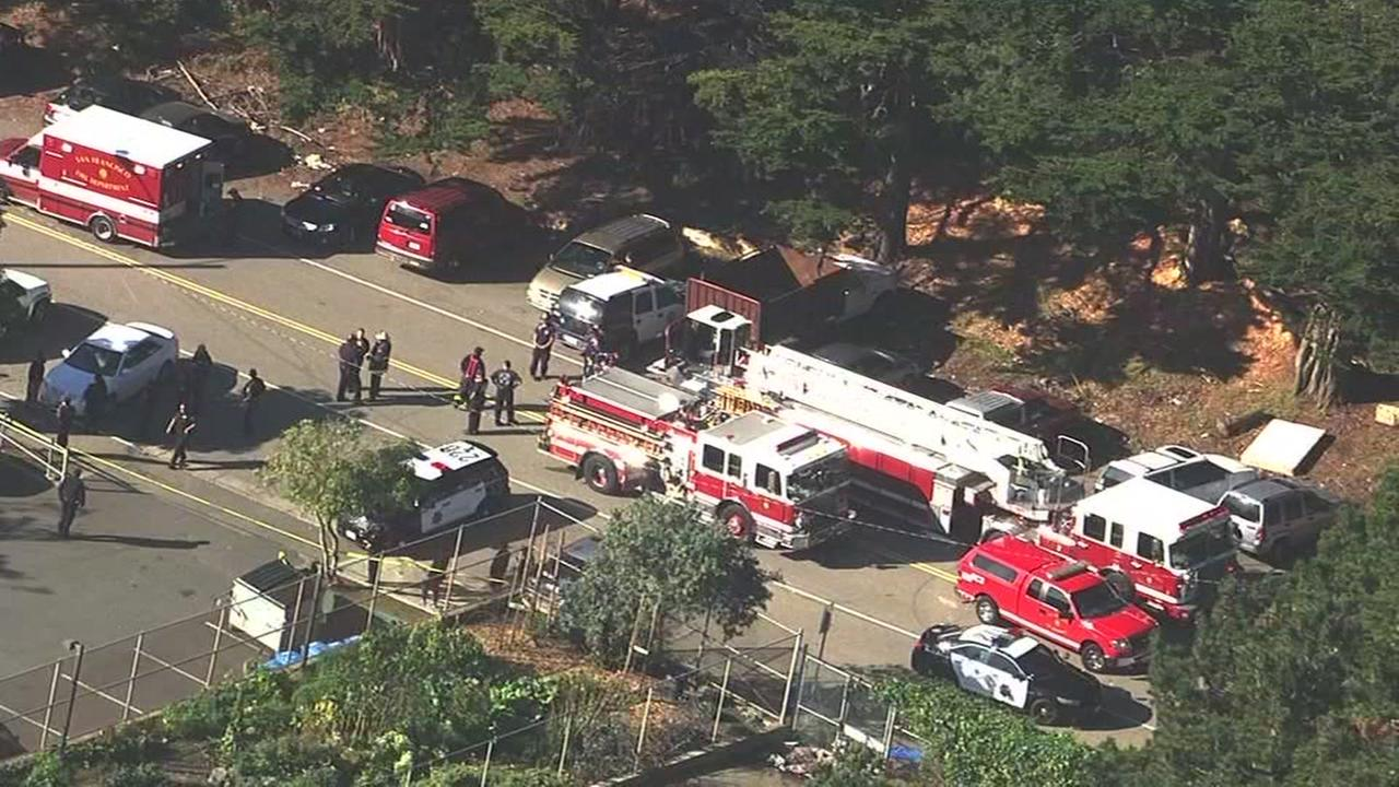 This image shows police and paramedics responding to the scene of a shooting a the June Jordan School for Equity on Oct. 18, 2016.