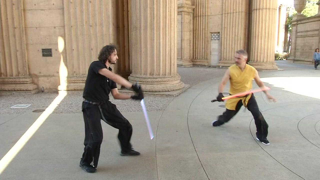 This image shows Ludosport employees demonstrating Lightsaber Combat on Oct. 21, 2016.