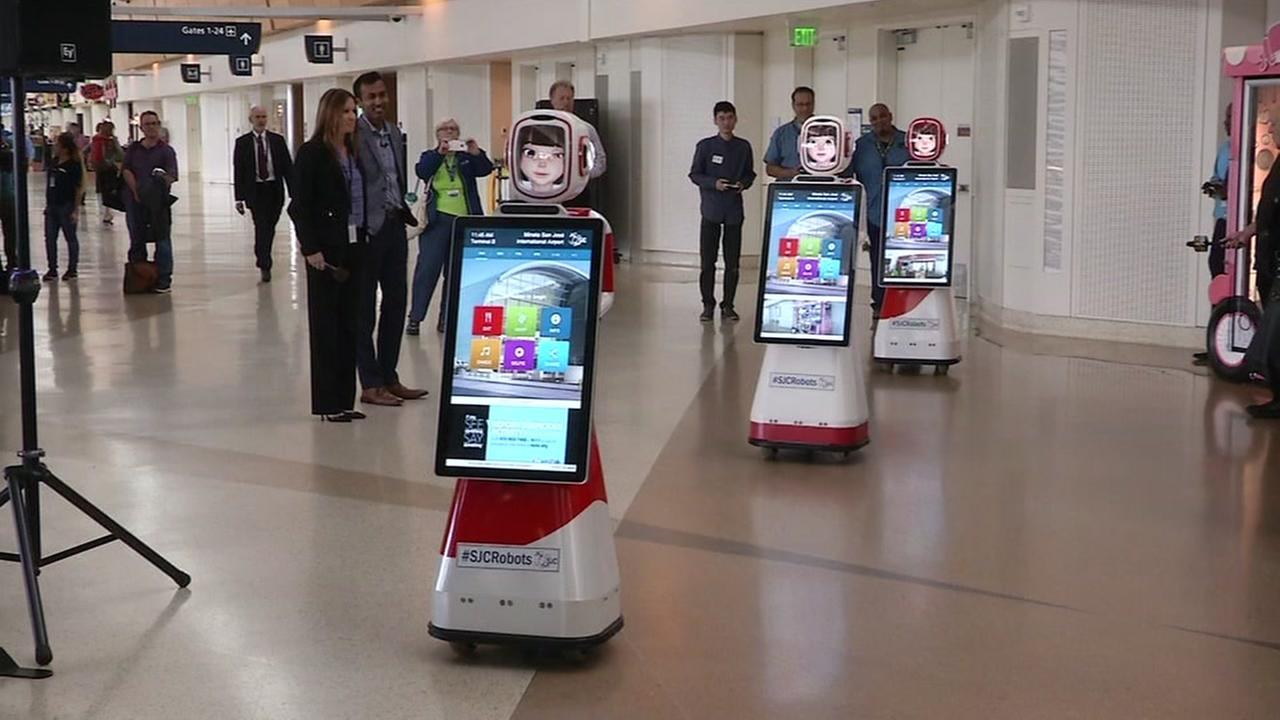 This image shows new robots at the Mineta San Jose International Airport in San Jose, Calif.