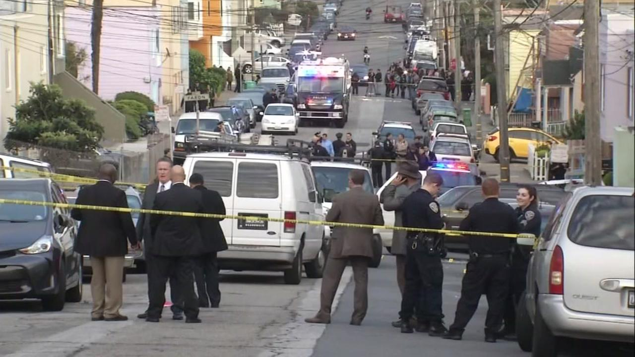 This image shows the the scene of an officer involved shooting in the Oceanview neighborhood of San Francisco on Oct. 26, 2016.