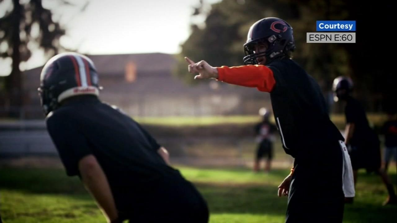 Players on a football team from the California School for the Deaf in Fremont, Calif.  are seen on Thursday, October 27, 2016.