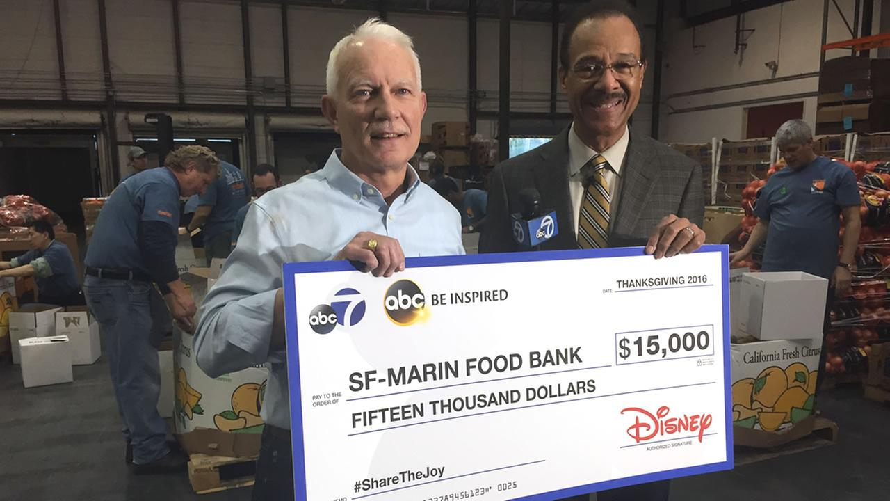 ABC7s Weather Anchor Spencer Christian presented a check for $15,000 to the SF-Marin Food Bank on Wednesday, November 9, 2016.