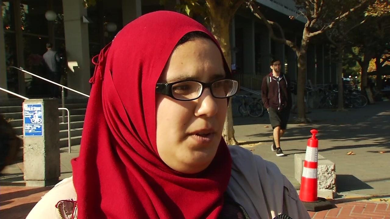 This image shows a University of California  Berkeley students who said she was the victim of a hate crime.