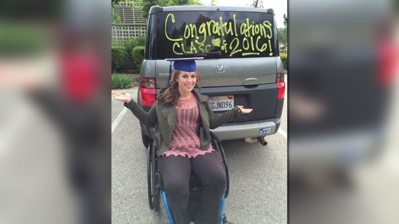 This image shows Kendra Kannegaard with her car that was stolen in Scotts Valley, Calif.