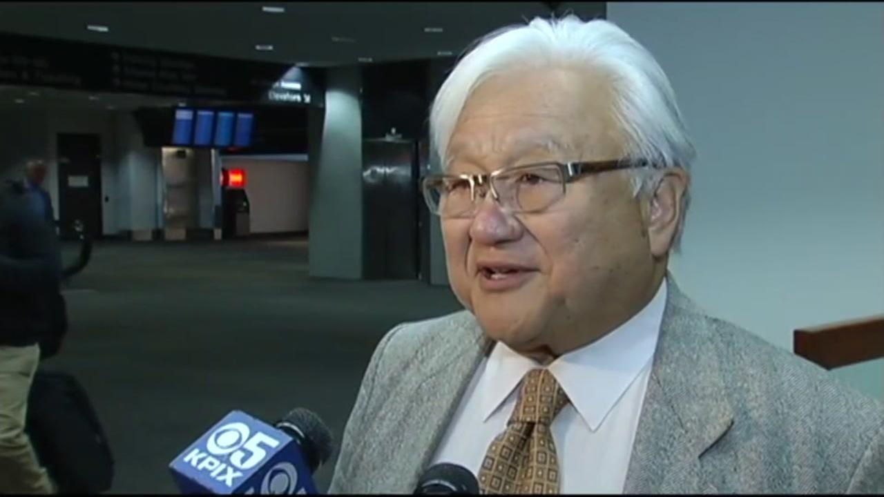 This image shows outgoing Silicon Valley Congressman Mike Honda at the San Francisco International Airport on Nov. 18, 2016.