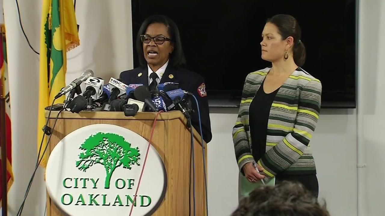 Oakland Fire Chief Teresa Deloach Reed speaks at news conference in Oakland, California, Tuesday, December 13, 2016.
