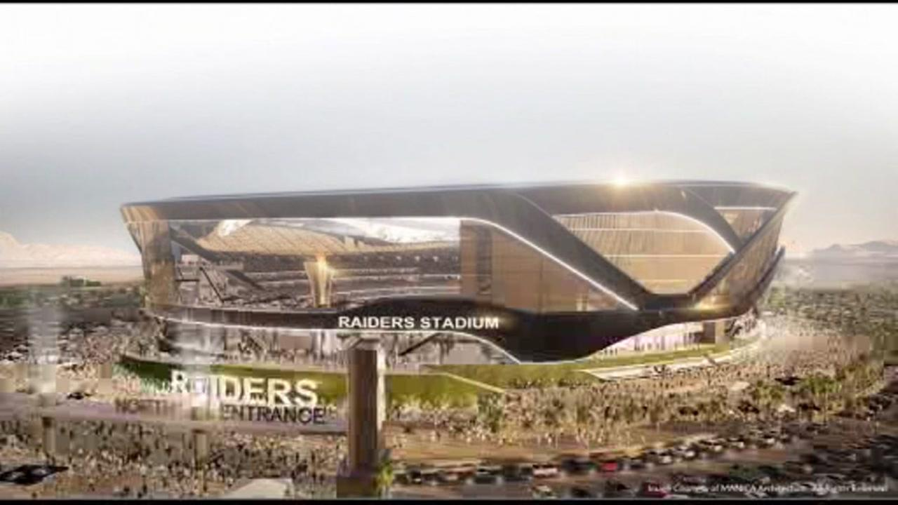 This photo shows a plan for a possible new stadium for the Raiders in Oakland, Calif.