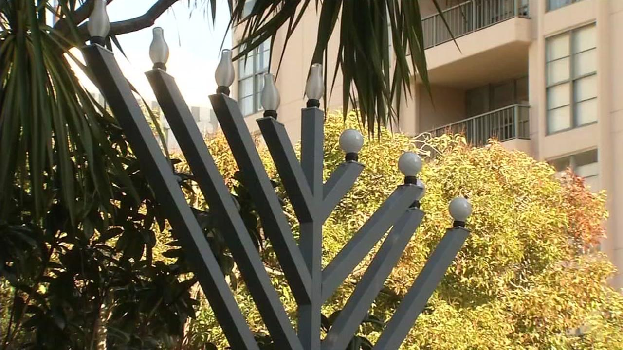A six-foot menorah stands in the yard of Miryum Mochkin in San Franciscos Washington Square Park on Dec. 26, 2016.