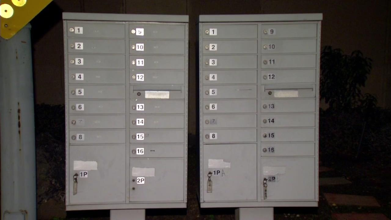 This is an undated image of a community mailbox in the Bay Area.