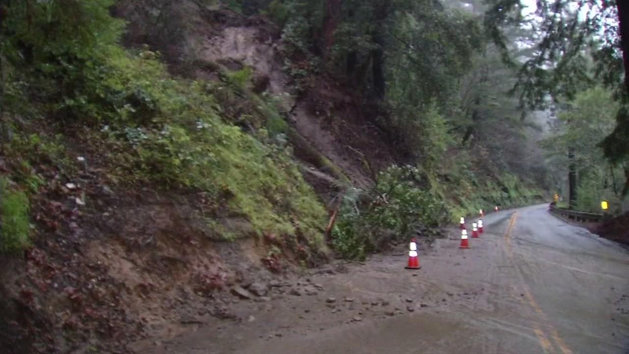 A flooded road is seen in the Santa Cruz Mountains on Wednesday, Jan. 4, 2017.