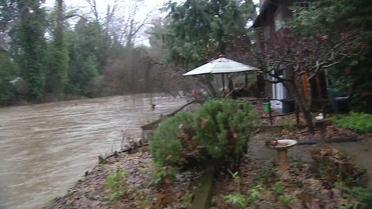 The San Lorenzo River is seen nearing its crest in Felton, Calif. on Sunday January 8, 2017.