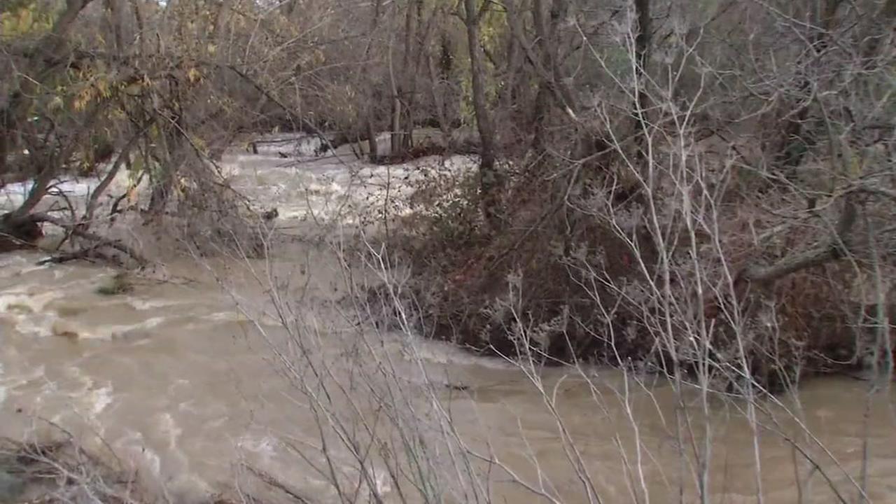 Flood waters rise in Los Gatos on Jan. 11, 2017.