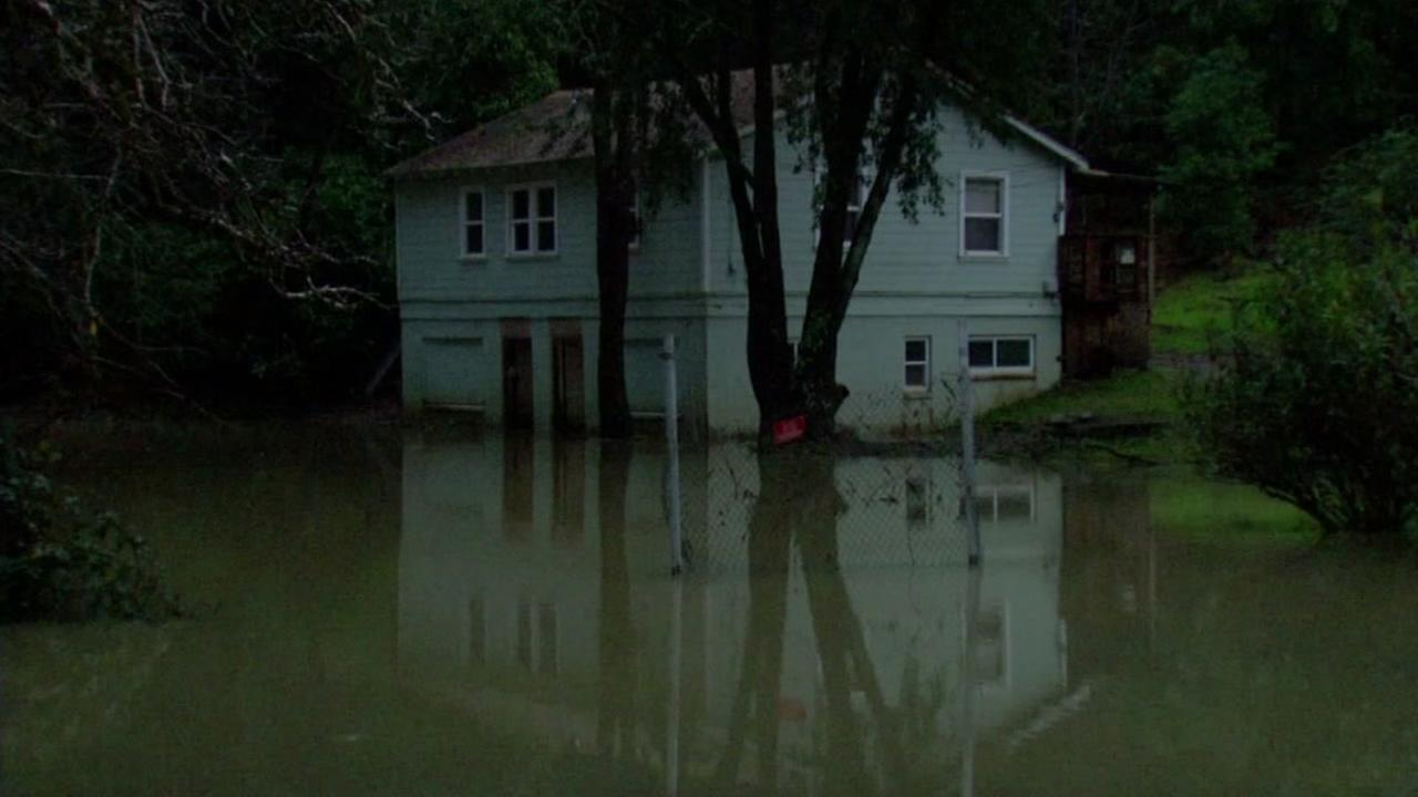 A house is shown flooded in Guerneville, Calif. on Jan. 12, 2017.