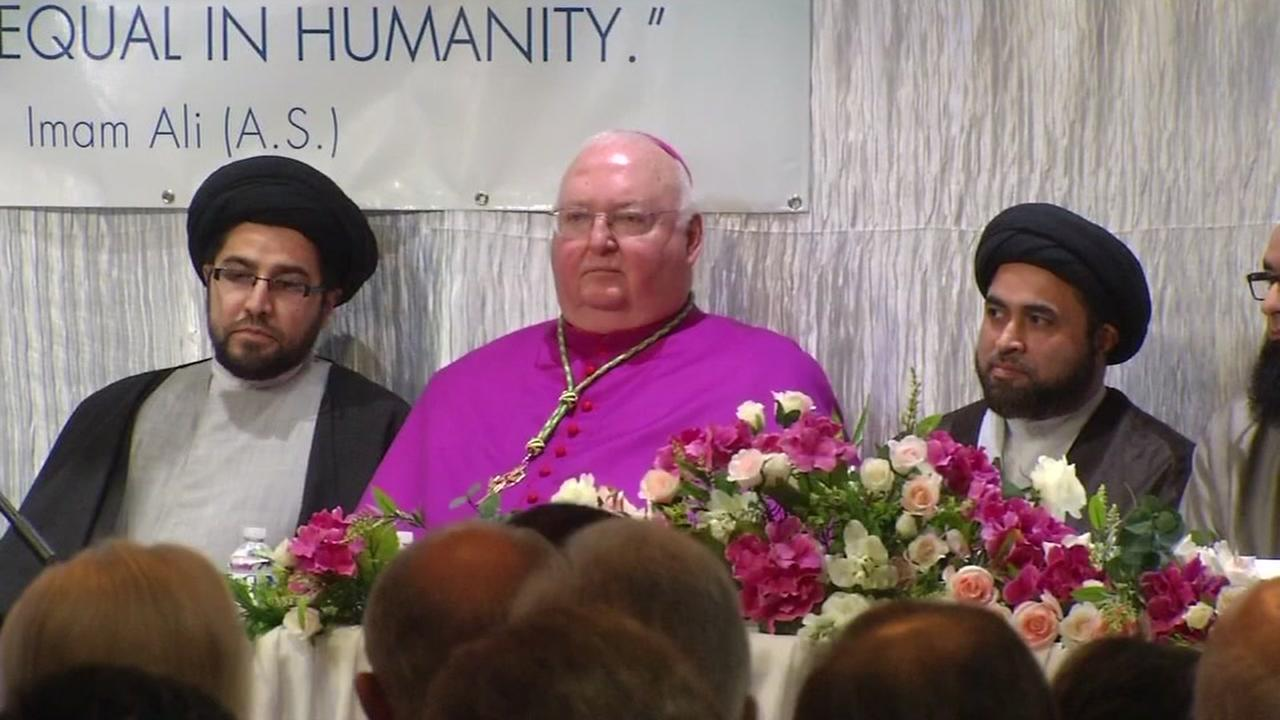 Bishop Patrick McGrath and imam Tahir Anwar are seen at the Saba Islamic Center in San Jose, Calif. on Monday, January 16, 2017.