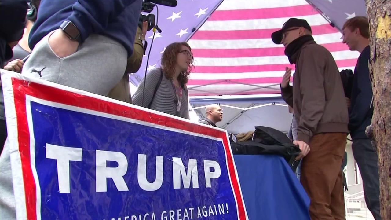 The U.C. Berkeley College Republicans show their support of Donald Trump on Jan. 20, 2017.