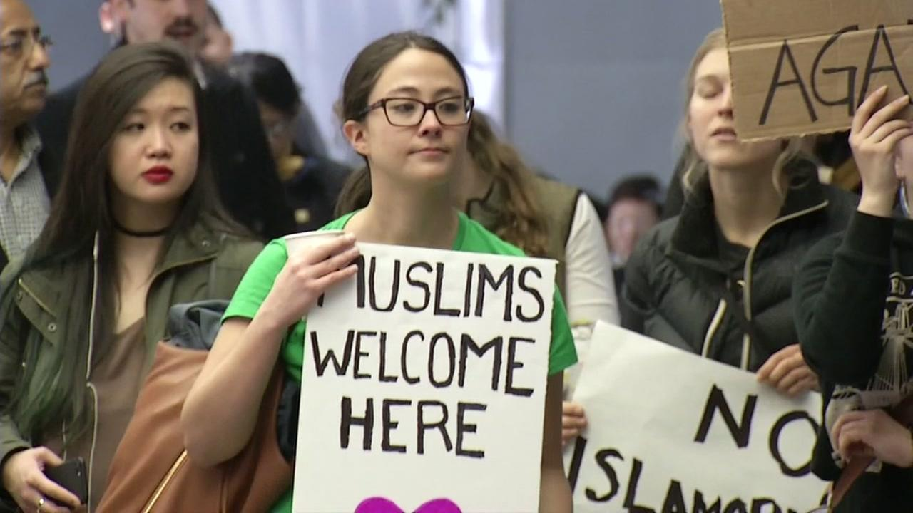 Hundreds of people gathered at San Francisco International Airport to protest President Donald Trumps immigration ban on Sunday, January 29, 2017.