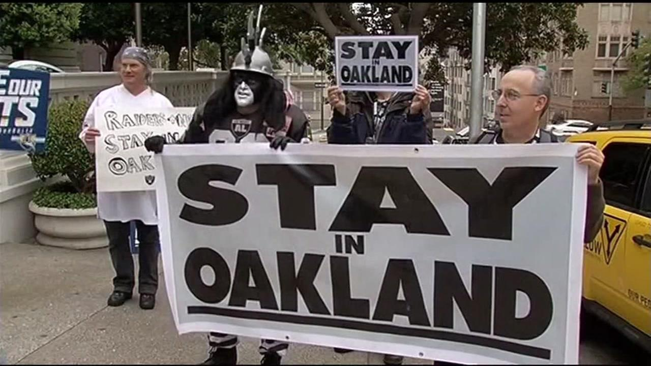 This is an undated image of Oakland Raiders supporters protesting the teams proposed move to Las Vegas.