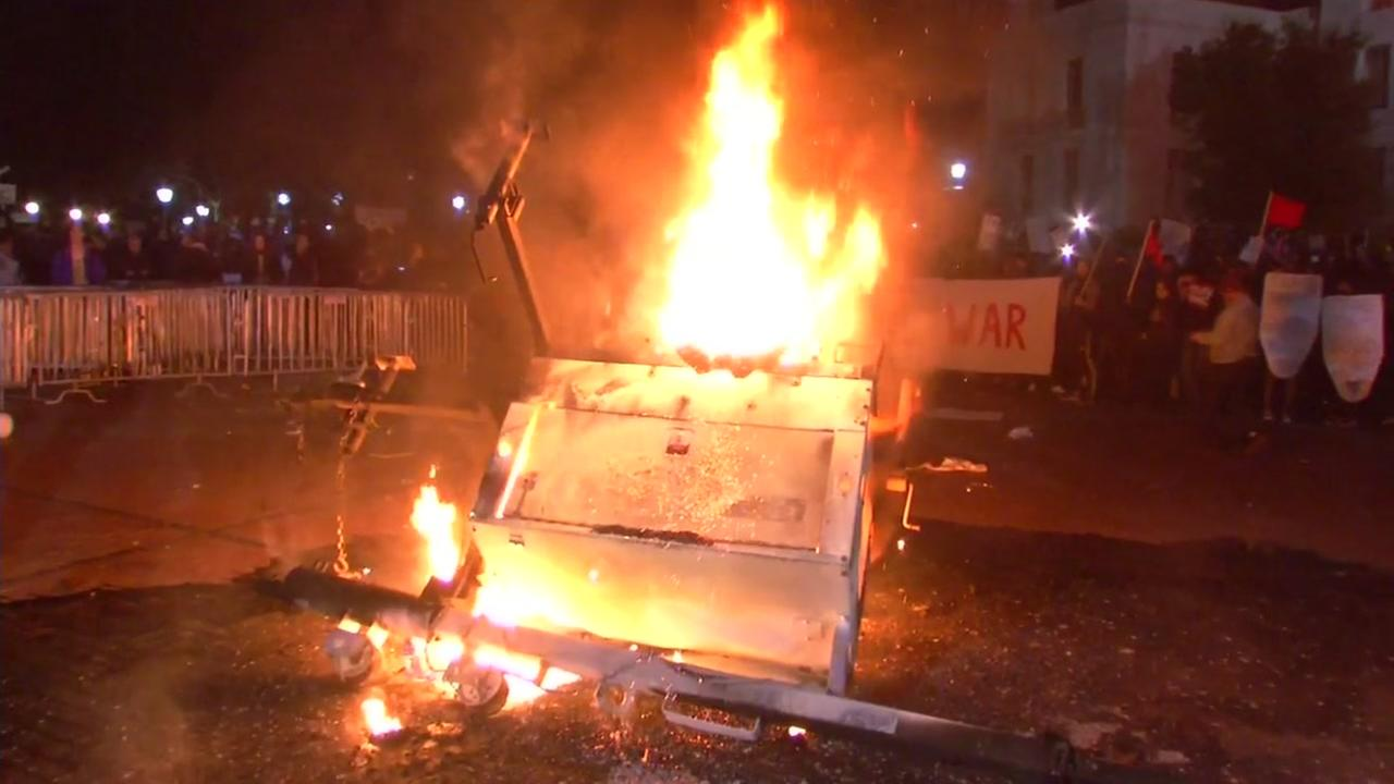 A fire is seen during a violent protest on the U.C. Berkeley campus on Wednesday February 1, 2017.