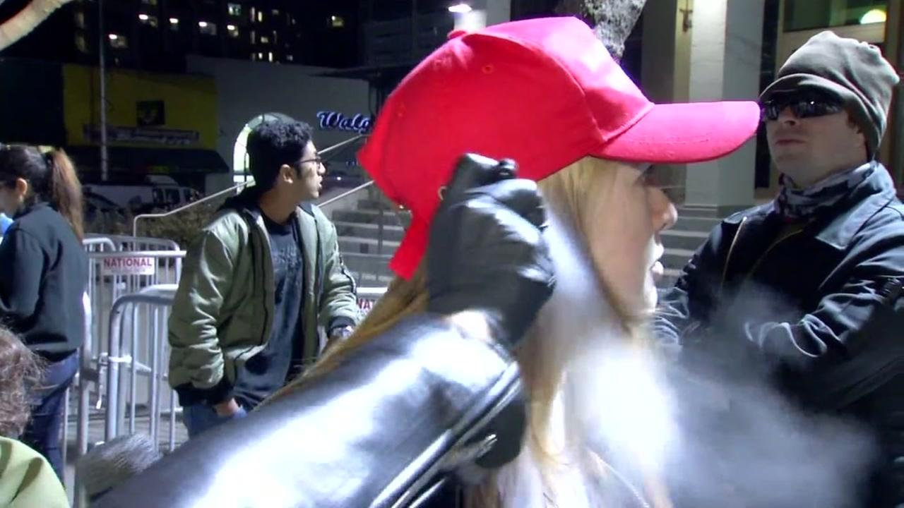 Kiara Robles is seen being pepper sprayed by an unknown reveler at U.C. Berkeley on Feb. 1 ,2017.