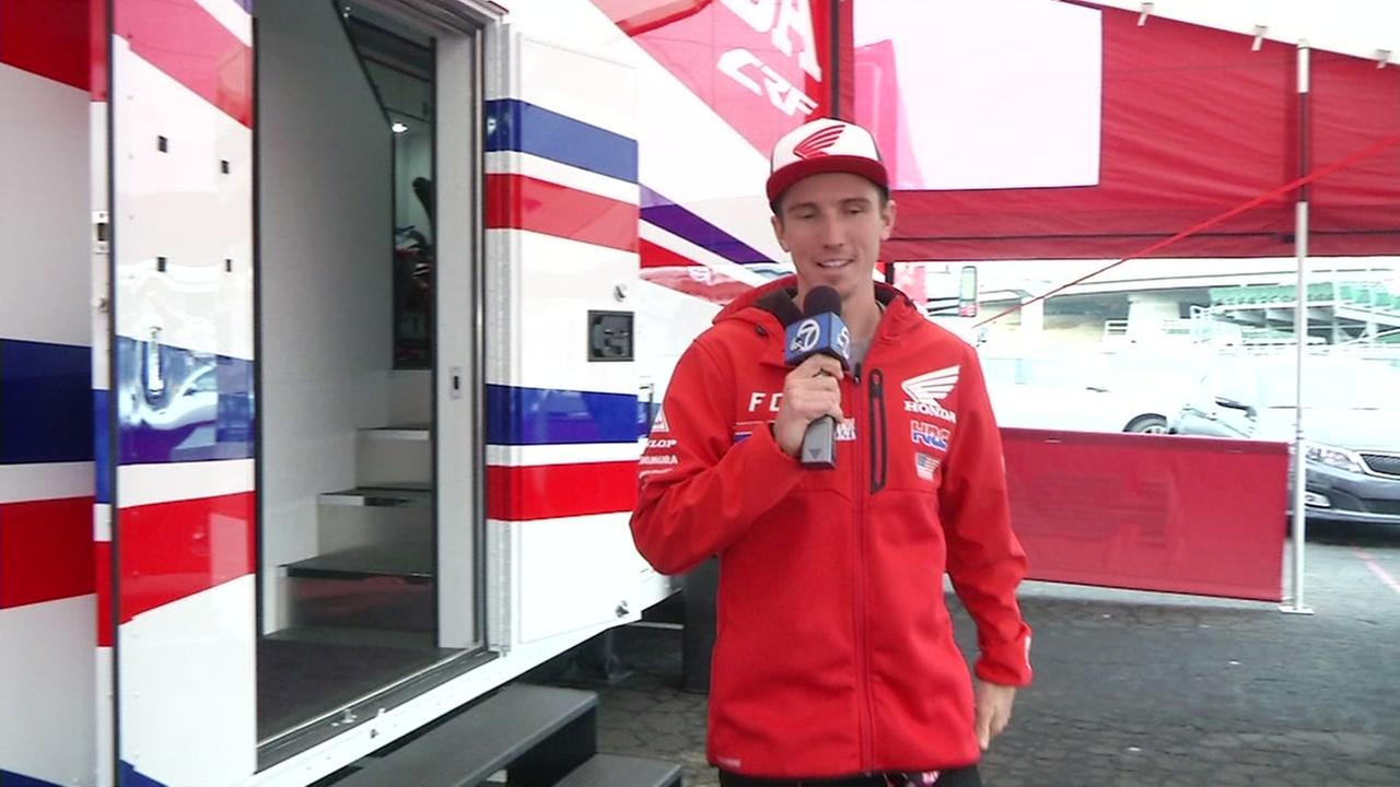 Supercross rider Cole Seely takes ABC7 News on a tour of the Honda Powersports rig in Oakland, Calif. on Feb. 3, 2017.
