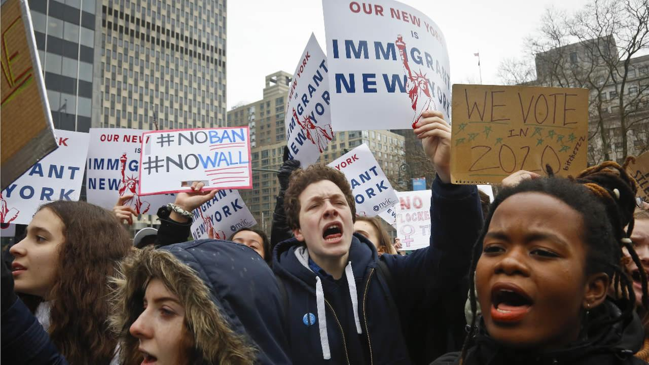 Students from around the citys high schools and colleges protest during a rally against President Donald Trumps travel ban on Feb. 7, 2017, in New Yorks Foley Square. (AP Photo)