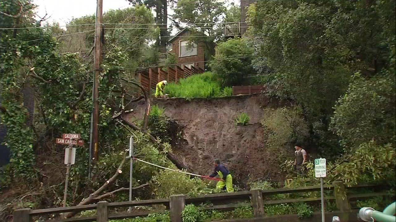 A mudslide is seen in Sausalito, Calif. on Tuesday February 7, 2017.