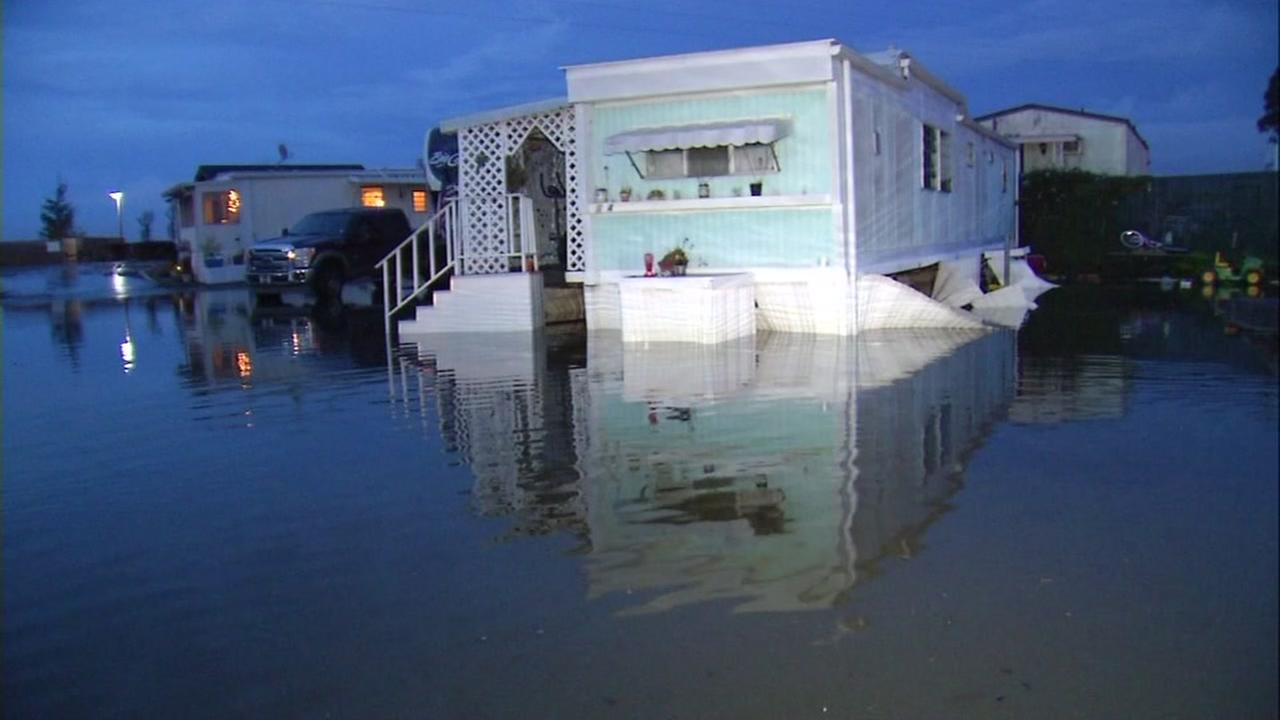 A mobile home park is seen flooded in East Palo Alto, Calif. on Feb. 7, 2017.