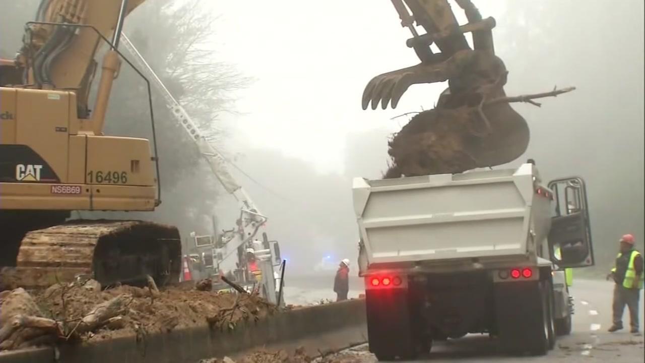 A dump truck is seen on Highway 17 in Santa Cruz County, Calif. on Thursday, February 9, 2017.