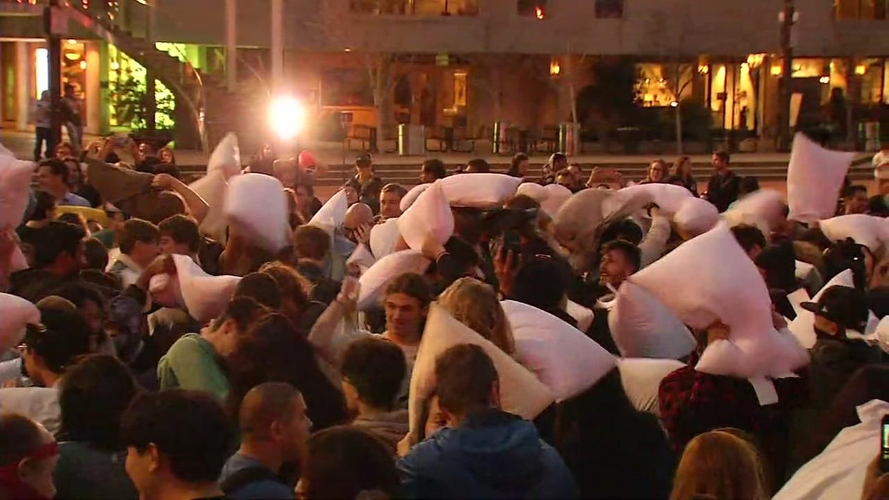 Hundreds flock to annual San Francisco Valentines Day pillow fight