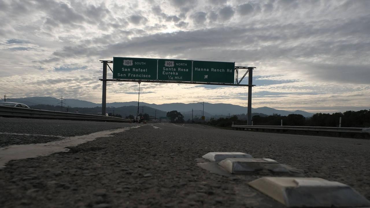 Highway 37 in Novato, Calif. looks deserted on Feb. 15, 2017.