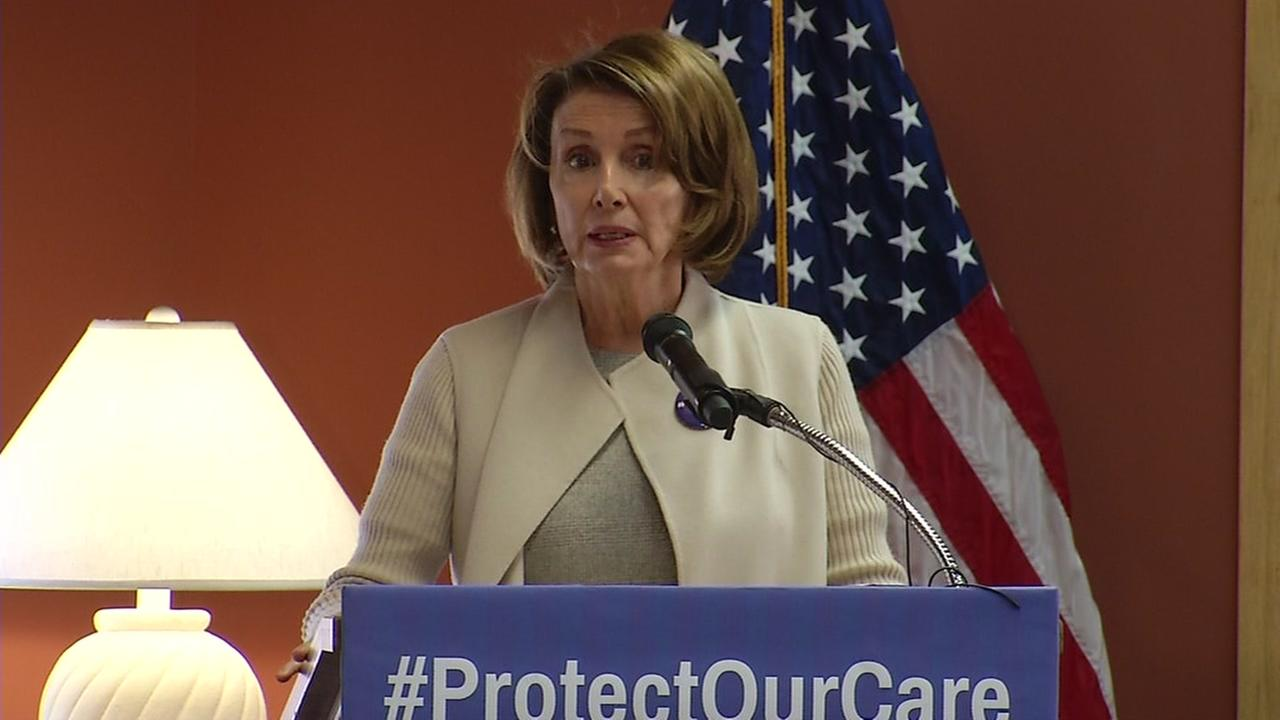 House Minority Leader Nancy Pelosi of Calif., is seen speaking at an event in San Francisco on Saturday February 18, 2017.