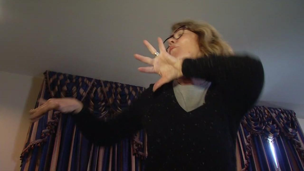 Golden State Warriors Dance Cam Mom Robin Schreiber does some of her famous dance moves in New Orleans on Feb. 19, 2017.
