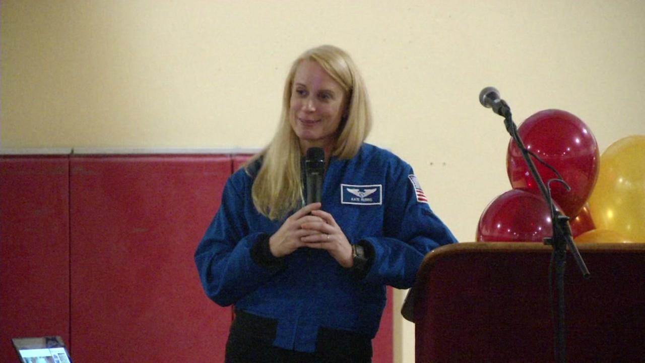 NASA astronaut Kate Rubins speaks at Vintage High School in Napa, Calif. on Tuesday, Feb. 21, 2017.