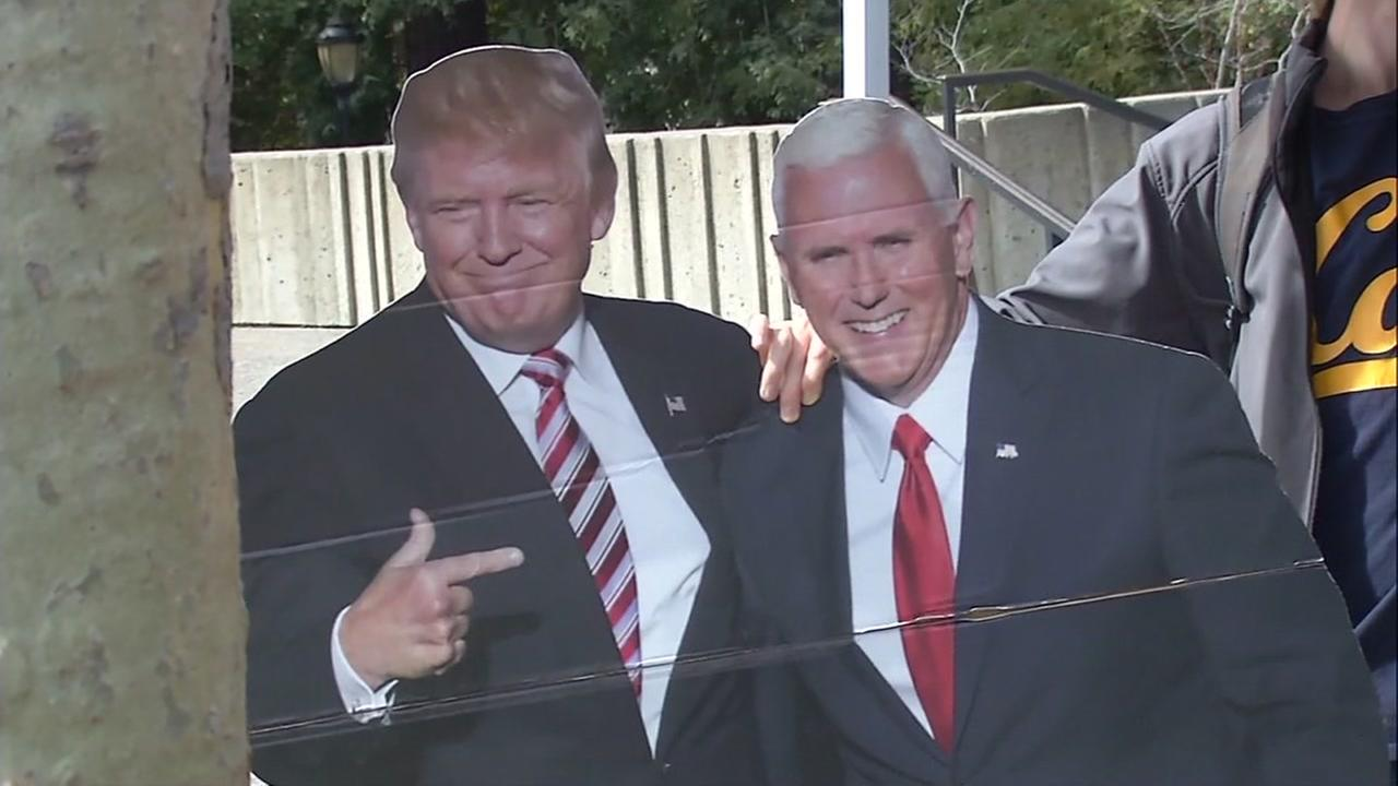 A standee of President Donald Trump and Vice President Mike Pence is seen in this undated image.