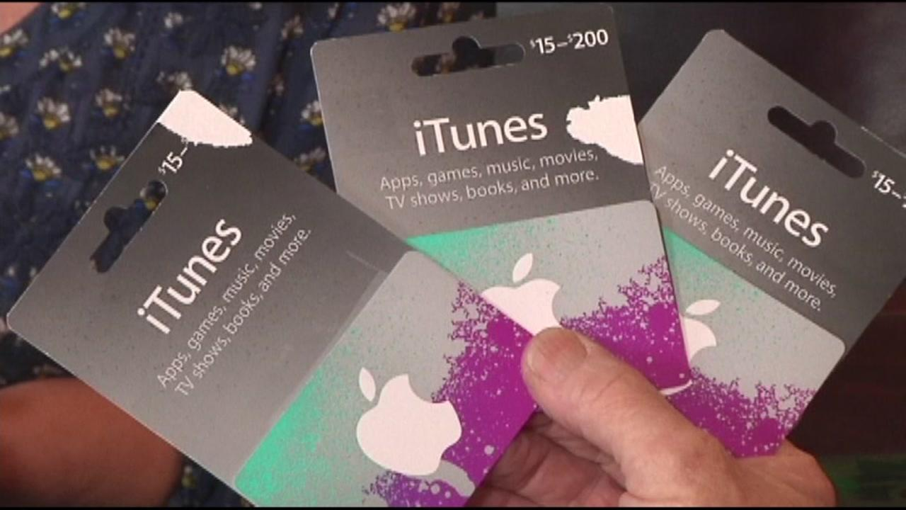 Apple iTunes cards are seen in this undated image.