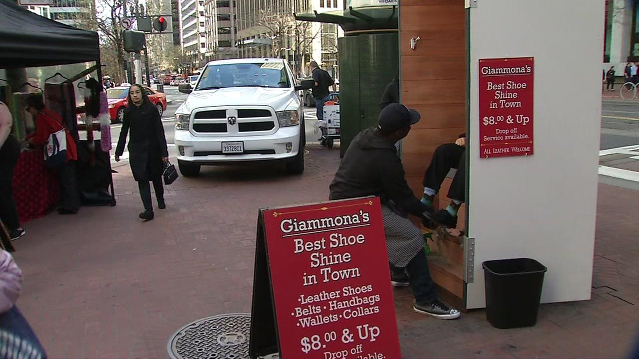 Giammonas shoe shine stand was reconstructed after a taxi accident eight months ago. It appears in San Francisco on March, 8, 2017.