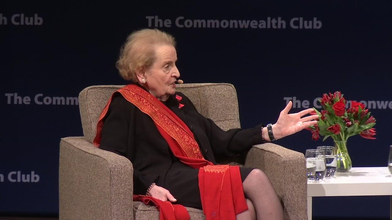 Former Secretary of State Madeline Albright speaks to a sold-out crowd in San Francisco on March, 8, 2017.