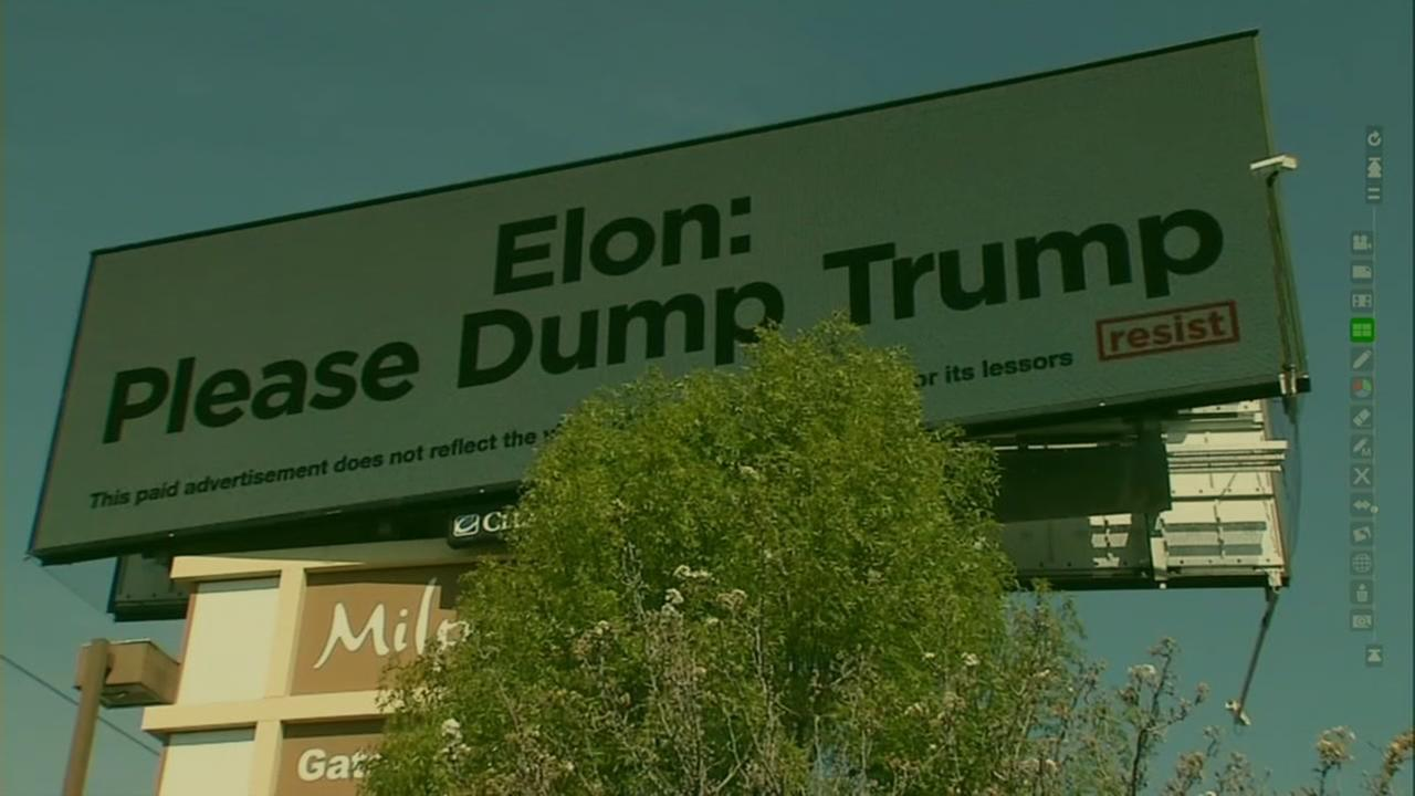 A billboard along I-880 in Milpitas is calling on Elon Musk, the CEO of Tesla and Space-X to leave the Trump Business Advisory Board. Thursday, Mar. 9, 2017
