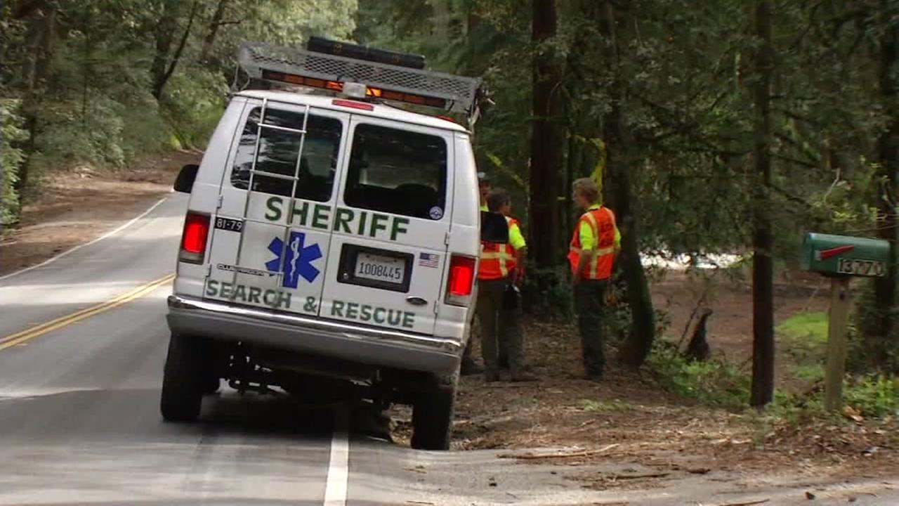 A Sheriffs vehicle is seen in Woodside, California as rescuers searched for a missing woman.