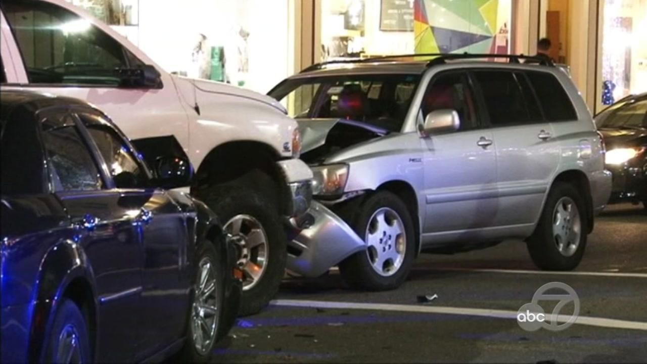 A crash is seen on College Avenue in Oakland, Calif. on Wednesday, March 16, 2017.