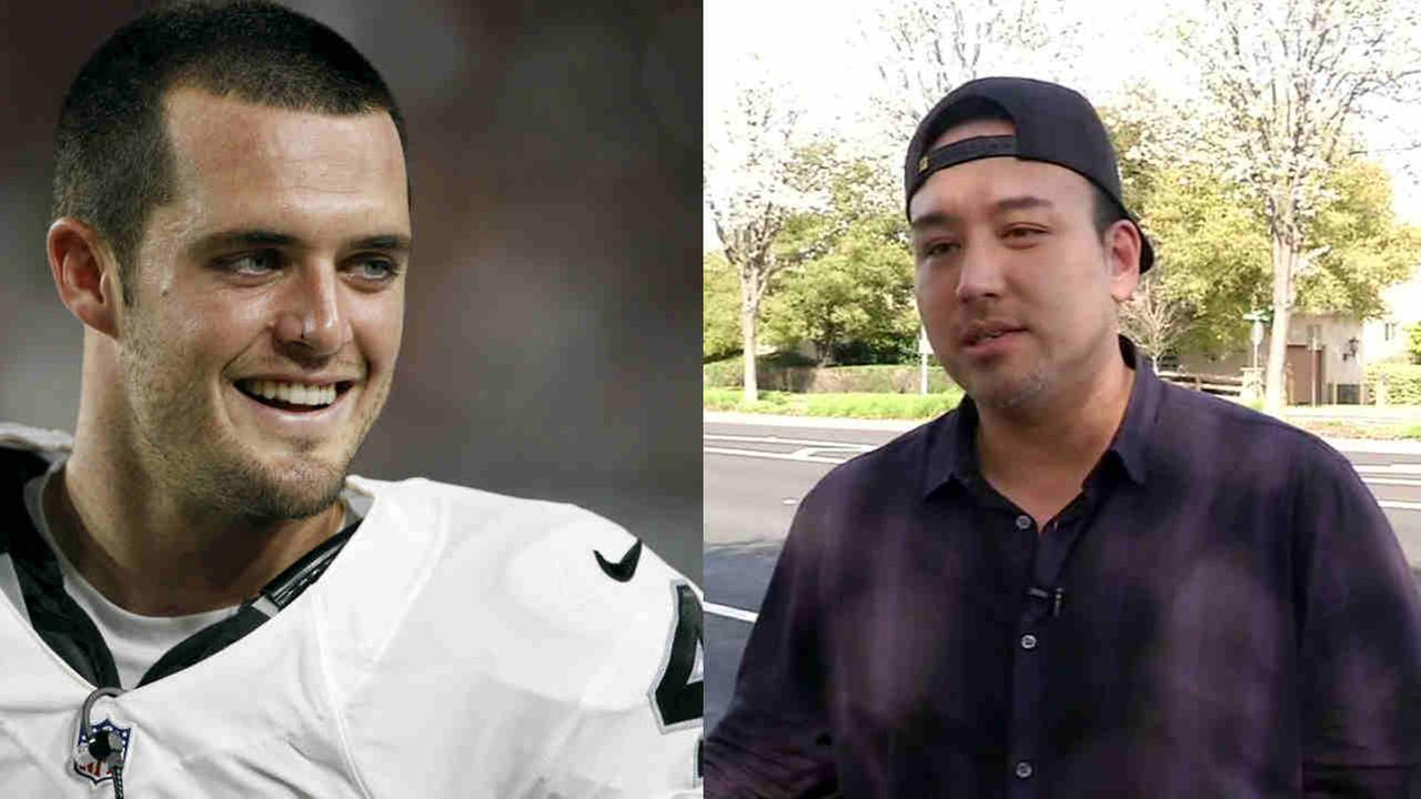Oakland Raiders quarterback Derek Carr and Ron Reeser are seen in this undated image.