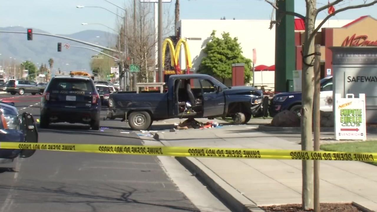 Police respond to a crash outside a McDonalds in San Jose, Calif. on Friday, March 17, 2017.