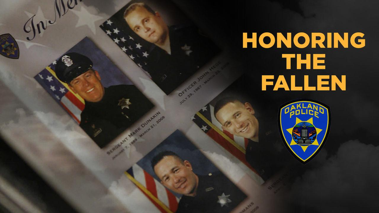 Slain Oakland Police Officers Sgt. Mark Dunakin, 40; John Hege, 41; Sgt. Ervin Romans, 43; and Sgt. Daniel Sakai, 35, are seen in this undated image.