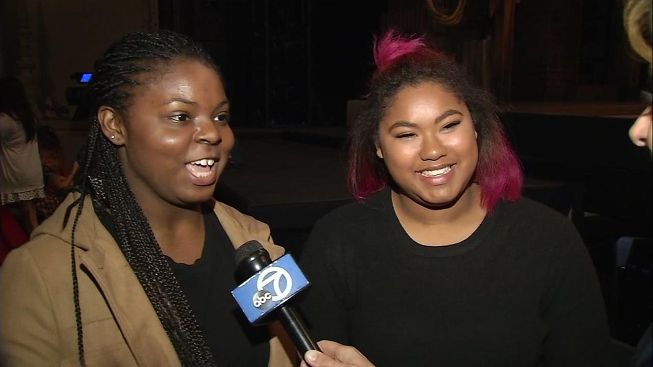 Students Shayna Mason (right) and Cali Chew speak to ABC7 News at a private performance of the Hamilton musical in San Francisco on March, 22, 2017.