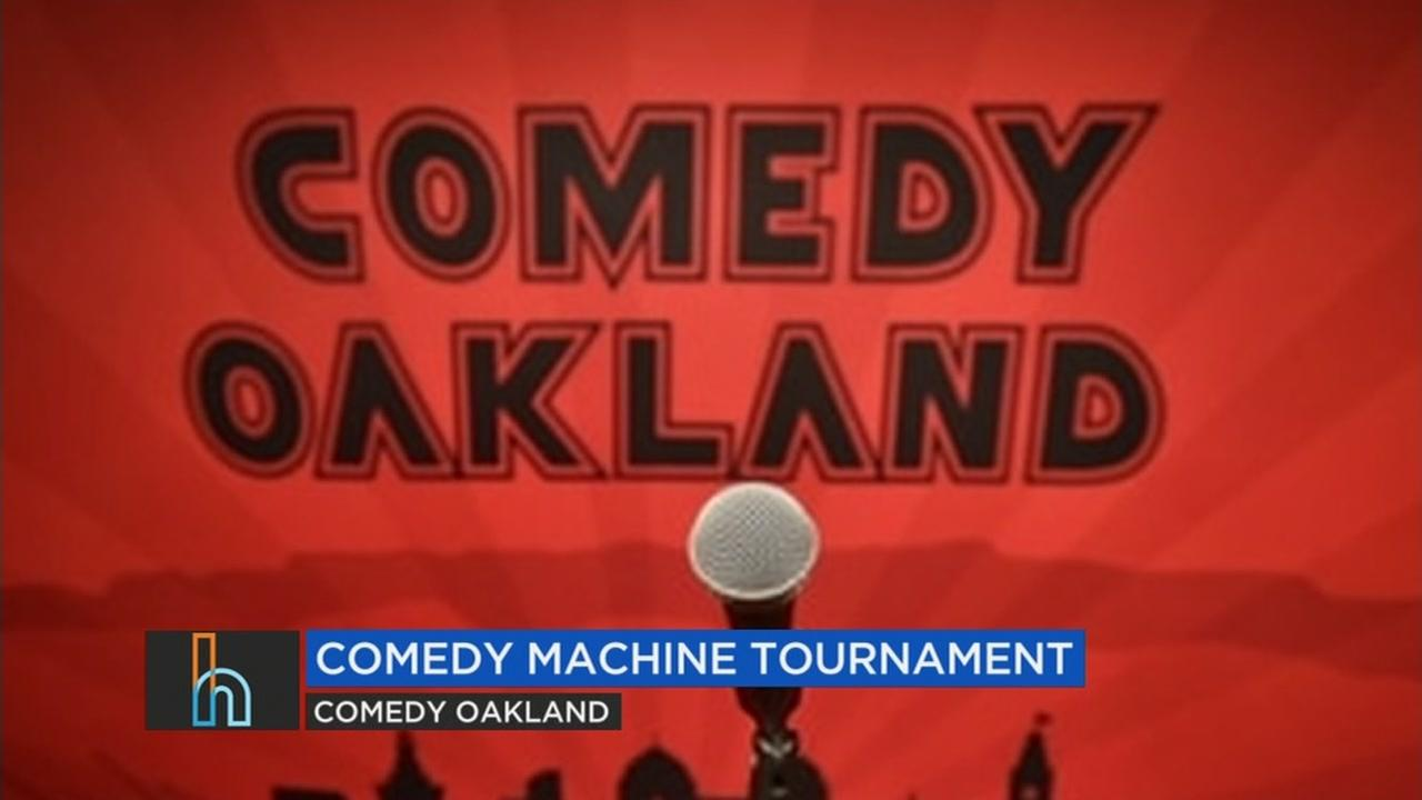 A sign for the Comedy Machine tournament in Oakland, Calif. is seen in this undated image.