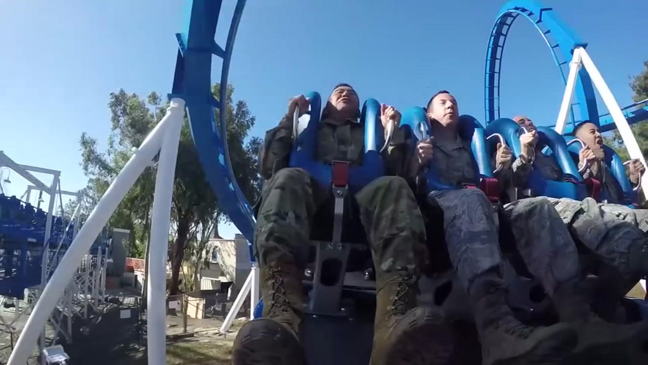 U.S. service members are seen riding Patriot at Californias Great America.