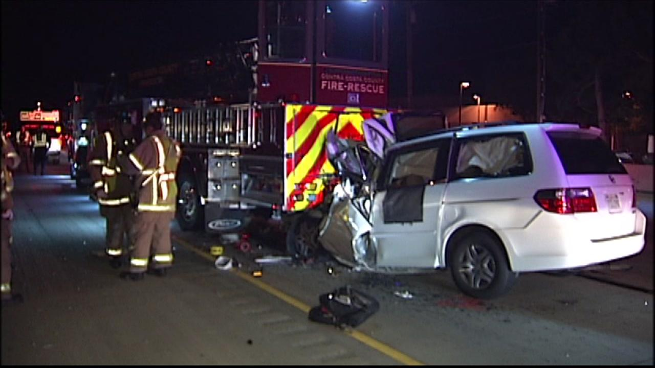 A crash involving a minivan and a fire truck is seen on Highway 4 in Antioch.
