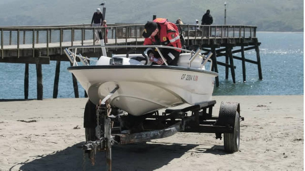 A boat is seen on Dillon Beach near Tomales Bay, Calif. after a boating accident on Monday, April 3, 2017.