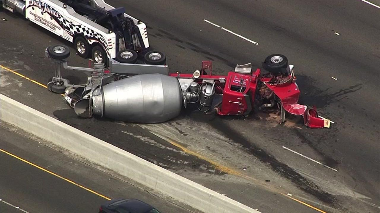 A cement truck that overturned on northbound I-880 in Fremont, Calif. is seen on Wednesday, April 5, 2017.