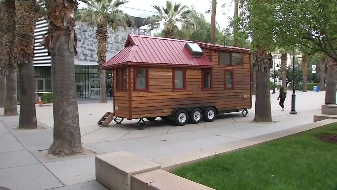 A tiny house appears on San Jose State Universitys campus on Tuesday, April 11, 2017.